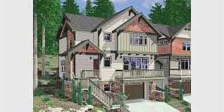 10110 craftsman house plan for sloping lots has front deck and loft