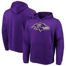 Majestic Line Of Sweatshirt Hooded Men's Ravens Scrimmage Purple Baltimore Pullover