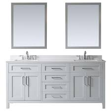 d vanity in dove grey with cultured stone vanity top in white with white basin and mirror
