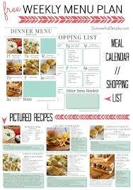 Weekly Menu For One Weekly Dinner Menu Week One All Time Favorite Recipes Dinner