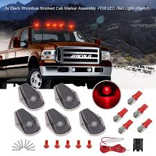2019 F250 Smoked Cab Lights Hocolo 5x Black Smoked Cab Marker Red Lights Assembly Roof Running Rhombus Black Lens Covers Red T10 Led Bulbs Replacement Switch For 1973 1997