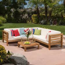 noble house oana teak finish 4piece wood outdoor sectional set with beige cushions wood outdoor sectional o74