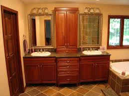 Double Bathroom Sinks Double Vanity With Upper Linen Cabinet In The Middle For The