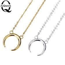 whole whole 2016 new gold silver simple crescent moon women necklace plain half moon 17mm pendant necklaces for women couple necklace anchor pendant