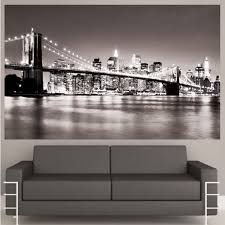 decal mural wall art nyc black white color good looking couch seating armrests wonderful comfortable living on new york city skyline wall art with wall art designs captivating brooklyn skyline wall art nyc