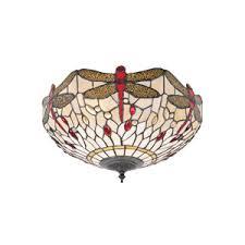 tiffany flush ceiling lights uk. interiors 1900 70723 dragonfly beige tiffany flush fitting ceiling lights uk