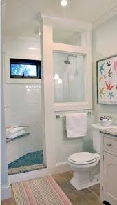 small bathroom clock: doorless shower modern farmhouse cottage chic love this shower for a small bathroom love the look even the small seat there make sure to have a inset