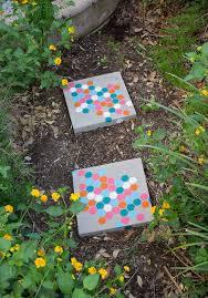 stenciled garden stepping stones