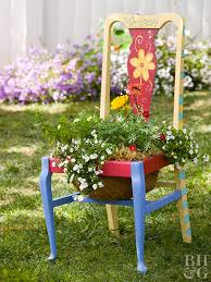 Red, yellow and blue chair planter