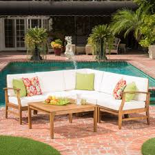 noble house perla teak finish 6piece wood outdoor sectional with cream cushions wood outdoor sectional e26