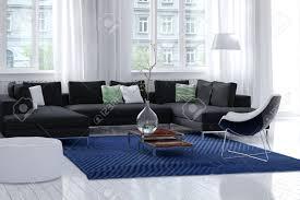 Das Helle Luftige Moderne Wohnzimmer Innenraum Mit Weißen Wänden