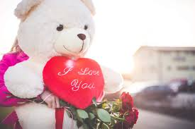 woman holding a big teddy bear and roses on valentine s day free stock photo