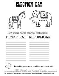 Small Picture Election Day Coloring Page and Make a Word Printable Printables