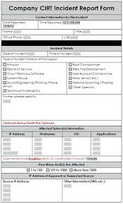 Sample Incident Report Template A Sample Incident Response Report