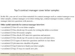 sample of contracts top 5 contract manager cover letter samples