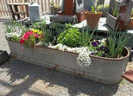 interesting deck designith galvanizedater trough and outdoor potted plants stock tanks livestock troughs for horse