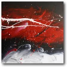 abstract art canvas painting white red black wall art paintings with regard to black white