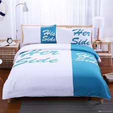 light blue and white bedding set his side her side couple home textiles soft duvet cover with pillowcases hot bedding sets for comforters