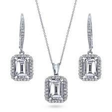 sterling silver emerald cz halo necklace and earrings set