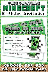 r1466 on birthday invitations party as well free printable invites templates minecraft invitation template