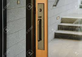 a br door handle with turning lock and thumb latch a small set of