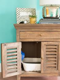 Decorative Cat Litter Box Covers How to Conceal a Litter Box in a Table HGTV 82
