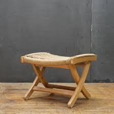 hans wegner danish style folding rope rush stool yugoslav made 1960s mid century modern by