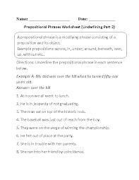 Underlining Prepositional Phrase Worksheets Part 2 | Language ...