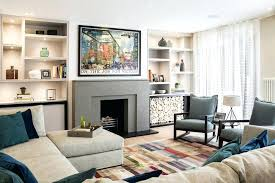 living room fireplace decor contemporary formal living room with stylish rug and built in shelves along