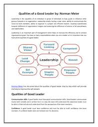 Qualities Of A Good Leader By Norman Meier By Norman Meier