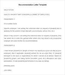 Free Template For Letter Of Recommendation Recommendation