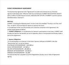 sponsorship agreement event sponsorship agreement template event sponsorship agreement