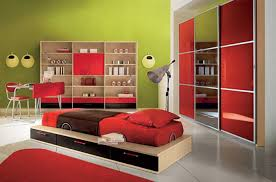 Modern Kids Bedroom Design Large Kids Bedroom Design With Red Bed And Brown Quilt Green Wall