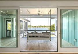 sliding deck doors covered deck with swinging sofa and sliding glass doors sliding deck door blinds