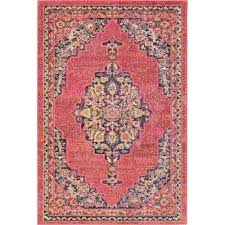 passionate 4 x 6 pink multicolor boho area rug