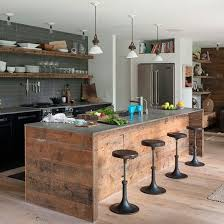 Wraparound wood on outside of kitchen island (peninsula in this house) Pair  with concrete  Industrial Style ...