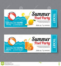 Party Tickets Templates Summer Pool Party Ticket Template Stock Vector Illustration Of 3