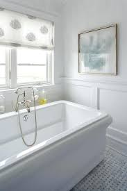 waterworks bathtub beautiful beach style cottage bathroom boasts a empire freestanding rectangular paired with polished nickel