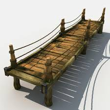 Wooden Bridge Game Simple 32D Old Wooden Bridge 32 CGTrader