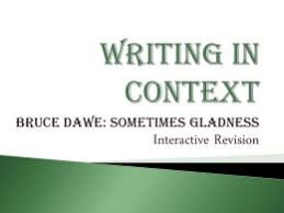 analysis of homecoming by bruce dawe yearvce revision writing in context bruce dawe