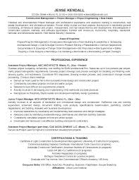 Construction Assistant Project Manager Resume Construction Manager Resume Sample Emelcotest Com