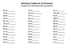 Division Chart 1 12 Division Tables Practice For Multiples Of 1 12