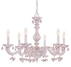 crystorama paris market 6 light rose crystal antique white chandelier