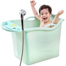 优儿美 children s folding bath tub bathing bucket baby bath tub baby tub kids bath tub with bench stool lake green folding