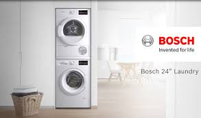 bosch stackable washer dryer. Unique Washer Bosch WTG86401UC 24 Inch Ventless Electric Dryer With Double Lint Filter  Quick Dry AntiVibration Design Condensation Drying Moisture Sensors  With Stackable Washer AJ Madison