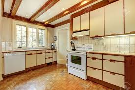 Kitchen Hardwood Floor Old Simple White And Wood Kitchen With Hardwood Floor And White
