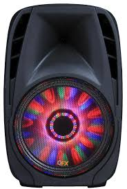 Qfx Portable Bluetooth Speaker With Microphone And Disco Light Pbx 711500btl Portable Tailgate Speaker From Qfx Party