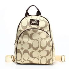 Coach Logo Monogram Small Apricot Coffee Backpacks FCH Clearance Outlet
