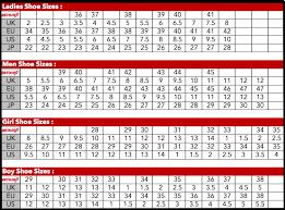 Shoe Size Comparison Chart Size Charts Aerosoft