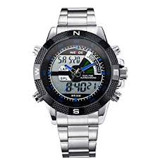 Buy <b>Weide Blue</b> Pointers Dual Time LCD and Analog Stainless ...
